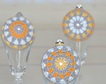 Christmas crochet baubles; handmade baubles; crochet baubles; colourful baubles; set of 3 crochet christmas baubles; christmas decoration;