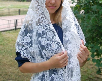 Ivory Bridal scarf, Lace Head Covering, Catholic Mantilla, Ivory Religious Head Covering, Catholic Chapel, Mantilla veil, Orthodox veil