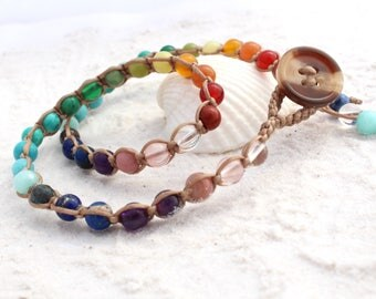 Rainbow Chakra Macrame Double Wrap Bracelet with Gemstones // ladies braceket // teenagers // beach wear