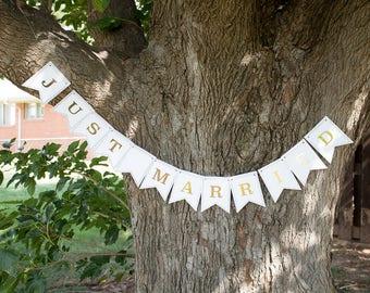 Just Married Custom Wedding Name Bunting Banner