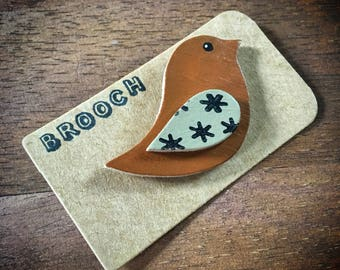Cute Wooden Bird Brooch