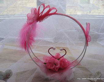 Butterfly, pink butterfly themed ring bearer pillow wedding ring
