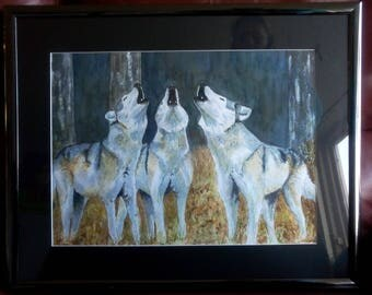 Watercolor wolves, framed with passepartout