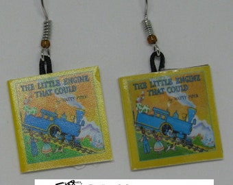 The Little Engine That Could Mini Book Earrings E262