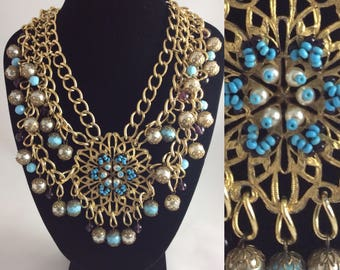 Fab 1960's Statement Necklace Faux Turquoise, Pearls and Glass Beads  Original Vintage Sixties 60's
