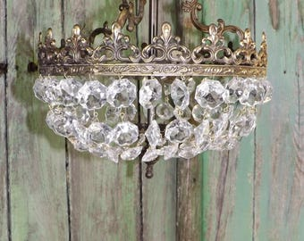 Stunning Vintage French  Crystal Glass Brass / Bronze Chandelier