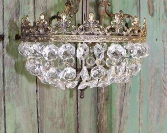 Stunning Vintage French  Crystal Glass Brass / Bronze Chandelier