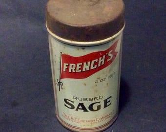Vintage Frenchs Rubbed Sage Tin Container