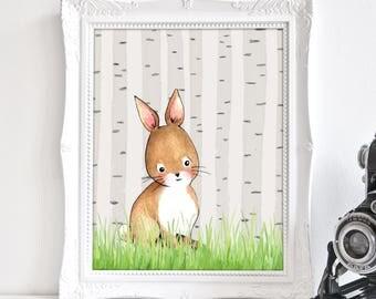 Baby Bunny Print, Woodland Bunny Print, Print Nursery Rabbit, Forest Print Nursery, Boho Nursery Decor, Baby Shower Gift, Printable Art