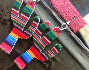 Serape Cactus Earrings
