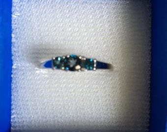 3 Stone London Blue Topaz , Sterling Silver Ring