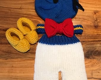 Hand Knitted Donald Newborn Photo Prop Outfit. Made to Order