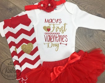 First valentines baby girl personalized Valentine's baby girl outfit 1st Valentine's newborn outfit Newborn valentines outfit baby's first