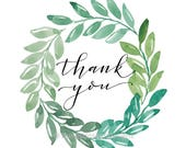 "Thank you tags, 2"" circle, digital download, green wreath, watercolor"