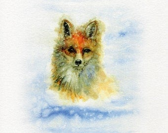 Watercolour Fox Print, Wall Art