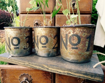 Antique Rustic Metal Tins With a Wooden Serving Tray