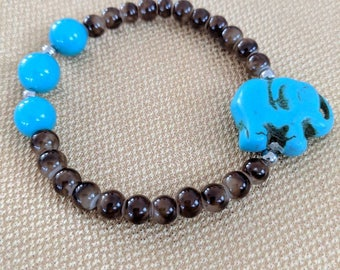 brown and turquoise elephant bracelet