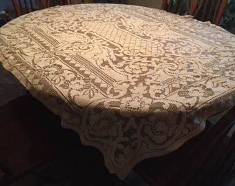Vintage lace table cloth.  Found at an estate sale.  It's beautiful.