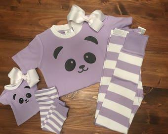 "Matching 18"" Doll and Girl Panda Pajamas"