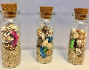 Mini Beach in a Bottle * Sea Shells * Sand * Charms * Wedding Favors * Beach Party * Birthday * Luau * Shake It Up!