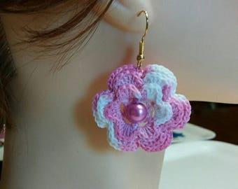 Crochet Earrings with cotton yarn