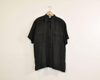 Minimal Silk Shirt, Vintage Silk Top, Short Sleeve Oxford, Pocket Front Shirt, 90s Black Silk Blouse, Loose Silk Button Down, Tie Front Top