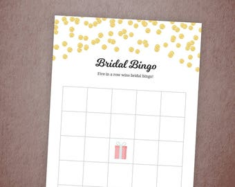 Bridal Bingo, Bridal Shower Game Printable,Bingo Cards, Gold Confetti Glitter, Party Games, Bachelorette Bingo, Wedding Shower Bingo, A001