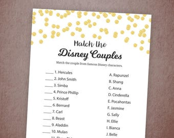 Disney Couples Match Game Printable, Gold Confetti Famous Disney Couples, Wedding Shower Matching Game, Instant Download, A001