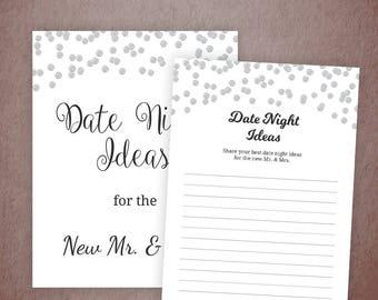 Date Night Idea Cards Printable, Silver Confetti Date Night Sign, Date Night Bridal Shower, Wedding Advice Card, Bachelorette Shower, A003