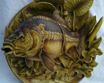 3D wooden carving plate, home decor, fish