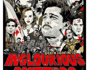 Inglourious Basterds Dark Comedy Gallery Wrap Giclée Poster Canvas Print