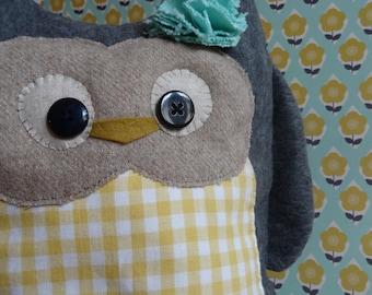 OWL doorstop made of fleece and cotton