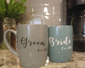Bride and Groom Mugs, Wedding Gift, Bridal Shower Gift, Anniversary Gift, Mugs with Sayings, Engagement Gift, Bride and Groom Mugs