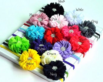 15colors Newborn Solid Fabric Flower Kids Headbands+Rhinestone Button Fashion Girls Chiffon Flower Hair Accessories