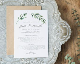 Wedding Programs Instant Download, Wedding Program Template, Printable Wedding Program, Editable Wedding Program Template - KPC02_201