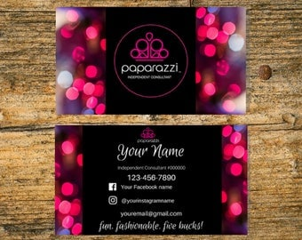 Paparazzi Business Cards - 3.5x2, Free Personalized, Paparazzi Jewelry Consultant Card, For Vistaprint or Home Printing