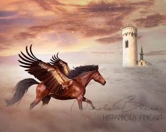 Pegasus, premade Backdrop, Castle Background, Horse Backdrop, Horse with wings, Photoshop Background, Fantasy Backdrop, Animal Backdrop