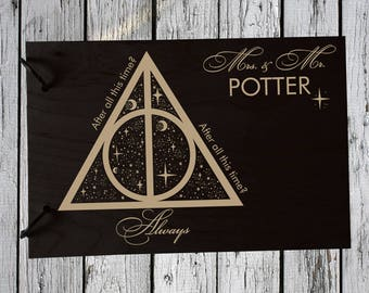 Wedding GuestBook Wooden Guest Book Wedding Gift Personalized Guest Book Harry Potter Guest Book Wood Guest Book  Rustic Guest Book Always