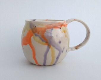 Ceramic mug, hand made, water color comtemporary design,  colorful, orange, purple, yellow, brown, coffee mug, tea mug, hot chocolate mug