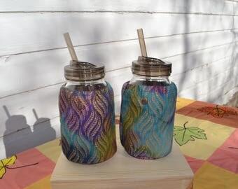 Mason Jar Cozies Quart Jar Insulated (set of two) Green/purple/blue/gold batik