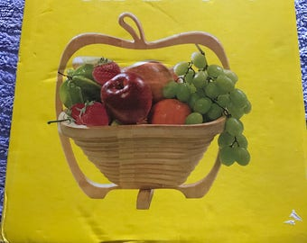 Vintage Folding Wood Apple Shaped Fruit Bowl