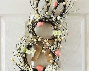 Easter wreath,Bunny wreath,Easter decoration,Bunny wreath for front door