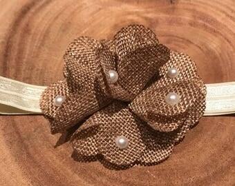 Burlap flower headband, pearl burlap headband, burlap pearl headband, pearl burlap flower headband, Easter flower headband, chic headband