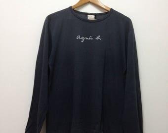 Vintage AGNES B Long Sleeve  Spellout Big Logo T Shirt