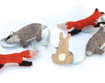 Garland forest animals felt / cotton