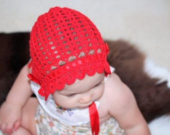 Willow Red Crochet Bonnet Baby Girl