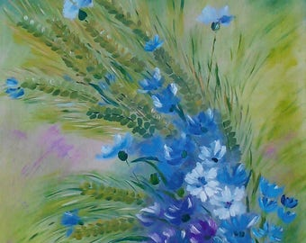 Cornflowers 45*60 cm. ready to hang gift idea