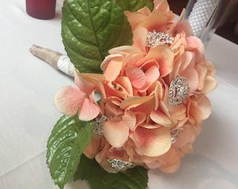 Peach brooch bouquet