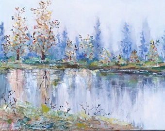 Abstract Lake Painting / Pond Painting on Canvas / Original Oil Painting on Canvas /
