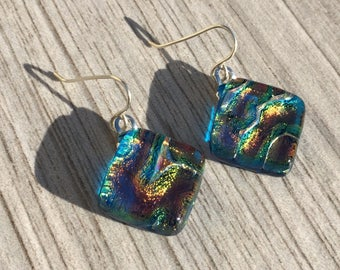Dichroic Fused Glass Earrings Orange and Teal Blue with Solid Sterling Silver Ear Wires